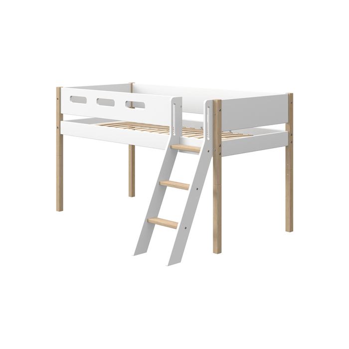 Nor - Mid-high Bed with Slanting Ladder and Safety Rail - Oak/White - Kids Furniture | Flexa USA