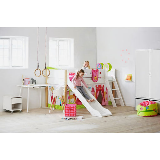 FLEXA White mid-high bed with straight ladder, slide and colored safety rail. Legs in solid birch.