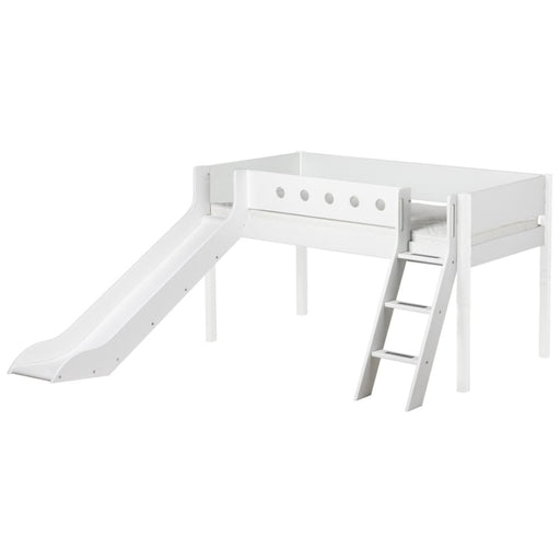 White - Mid-high bed with slanted ladder and slide - White - Kids Furniture | Flexa USA