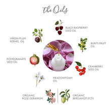 Load image into Gallery viewer, The oils in Oil Nouveau- Black Raspberry Seed Oil, Buriti Fruit Oil, Cranberry Seed Oil, Meadowfoam Oil, Pomegranate Seed Oil, Virgin Plum Kernel Oil, Organic Bergamot (FCF), Organic Rose Geranium