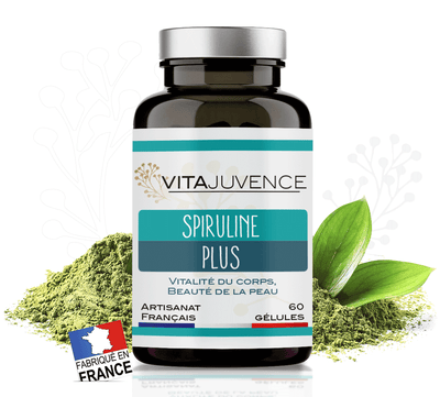 pot de 60 gélules à base de Spiruline et Acide hyaluronique