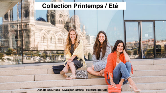 Collection Printemps/Été - Clolicot, tricot, fait-main, artisanat, châle, pochette, étole, bracelet, coton, création, frange, made in france