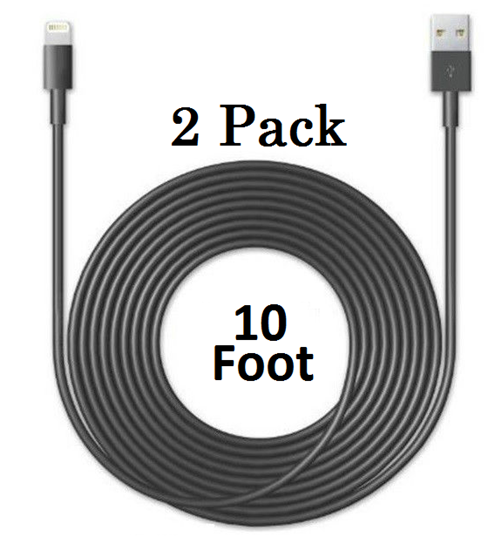 2 PACK: 8 Pin to USB 10 Ft Cable for iPhone 5/6/7 iPad Air (Black)