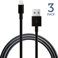 3 PACK: 8 Pin to USB Charge & Data Sync Cables for iPhone 5/6/7 (Black)
