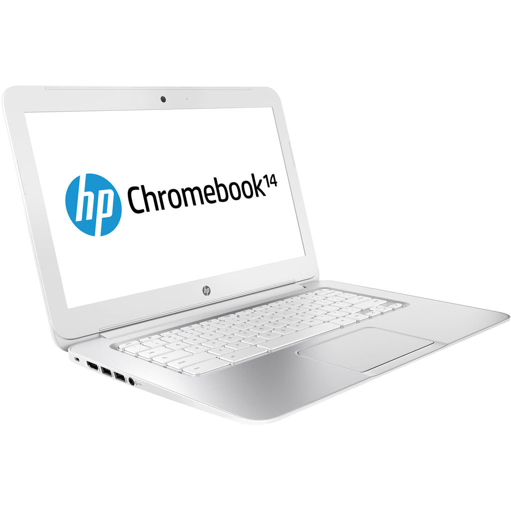 "HP 14"" J2L40UA Chromebook Celeron 2955U 1.4GHz 2GB RAM 16GB SSD Chrome OS in White (Scratch and Dent)"