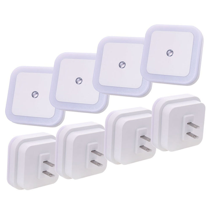 4 Pack: LED Night Light Lamp with Sensor Auto On/Off Dusk to Dawn in White
