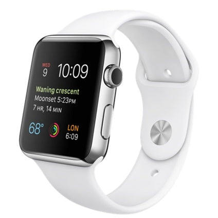 Apple Watch 38mm Smartwatch in Stainless Steel Case with White Sport Band