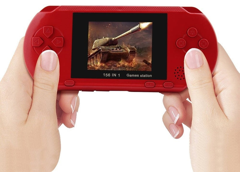 Classic Portable Handheld Video Game Console w/ 2 Game Cards - Red