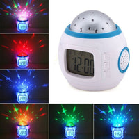 Digital Alarm Clock w/ Musical Led Starry Sky Projection & Thermostat