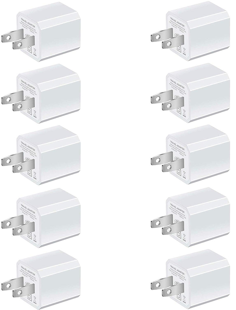 10 Pack: Universal AC USB Wall Charger Cube for for iPhone 11 Pro Max/X/8/7, iPad, Samsung Phones and More USB Charging Block