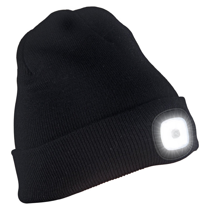 Knitted Beanie Hat With Rechargeable LED Head Light