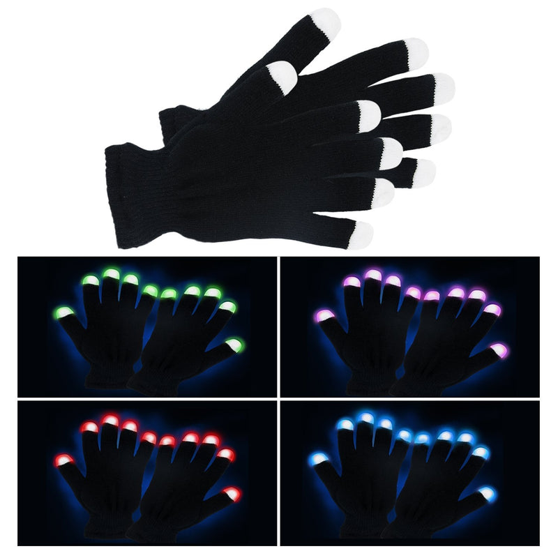 Black Knit LED Strobe Fingertip Light Up Gloves