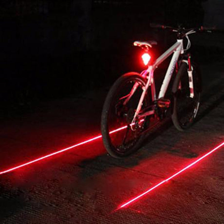 LED Tail & Side Laser Lights for Bikes w/7 Bright Modes