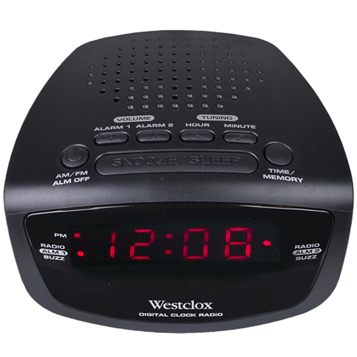 Westclox 80209 AM/FM Dual Alarm Clock Radio with Digital Tuning in Black