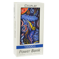 iDeaPLAY B100 Dual USB Port 10000mAh Power Bank (Paisley)