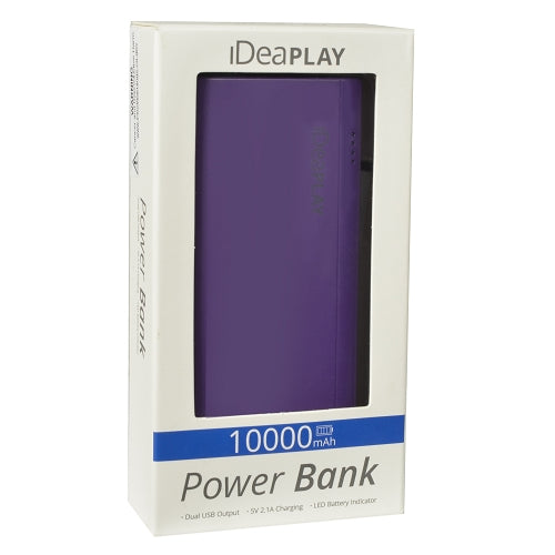 iDeaPLAY B100 Dual USB Port 10000mAh Power Bank (Purple)