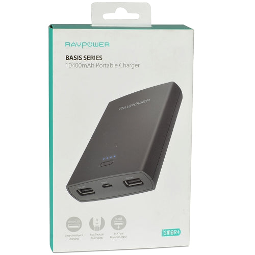 RAVPower Basis Series RP-PB071-BK Dual USB Port 10400mAh iSmart Portable Charger Power Bank in Black