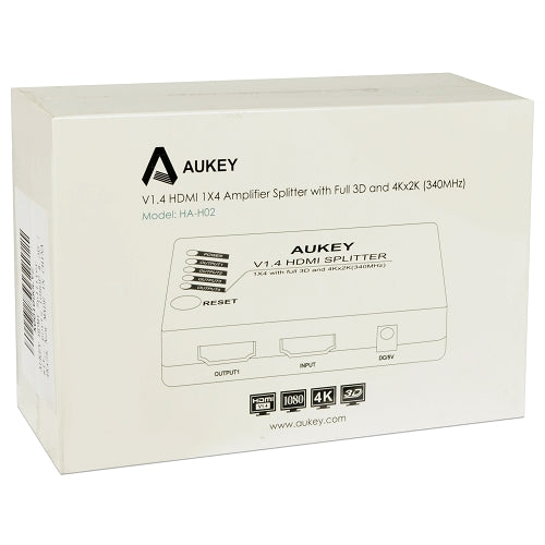 AUKEY HA-H02 1x4-Port HDMI V1.4 Amplifier Splitter w/3D & 4Kx2K Support -  Split One HDMI Signal to Four HDMI Displays!