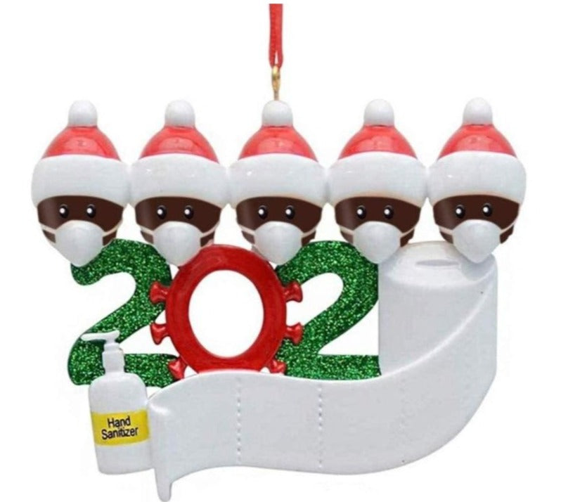 Santa Family Christmas Party Facemask Ornament 2020 with Face Mask and Toilet Paper