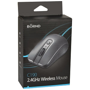 Börnd C190 2.4GHz Wireless 3-Button Optical Scroll Mouse w/Nano USB Transceiver (Black)