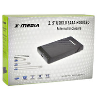 "2.5"" X-Media XM-EN2279U3 SuperSpeed USB 3.0 External SATA HDD Enclosure (Black) - Supports up to 2TB!"