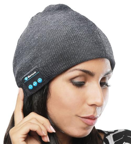 8c9cf8c91a5 Wireless Bluetooth Beanie Hat with Built-In Headphones in Gray ...