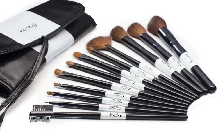 Karity Professional Studio Quality 12 Piece Natural Cosmetic Makeup Brush Set w/ Pouch in Black