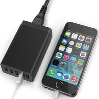 iTD Gear Universal 40W Power 5-Port Super Fast USB Desktop Charger in Black