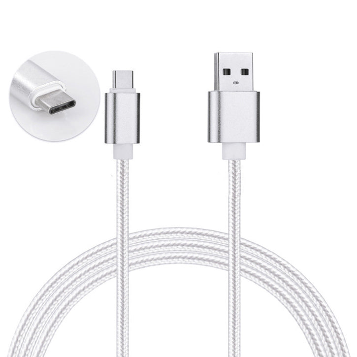 2 Pack: USB Type C Nylon Braided - Data Sync & Charging Cables 3 Feet in Silver