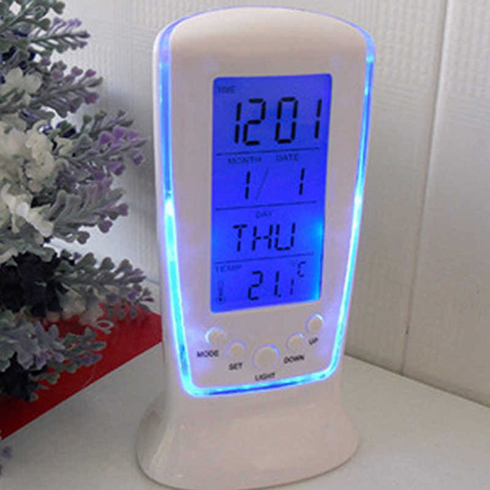 LED Alarm Clock with Blue Backlight Electronic Calendar & Thermometer