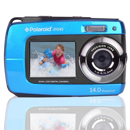 "Polaroid Waterproof Camera IF045-BLU 14MP 5x Digital Zoom w/1.8"" Front & 2.7"" Rear Displays (Blue)"