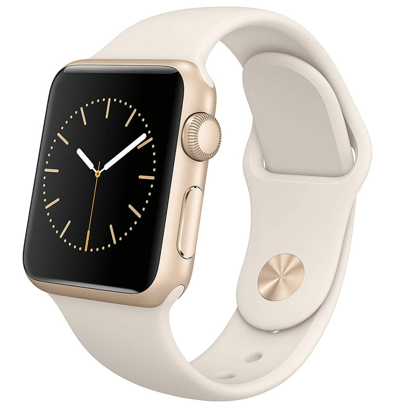 Apple Watch 38mm Smartwatch in Gold Aluminum Case with White Sport Band