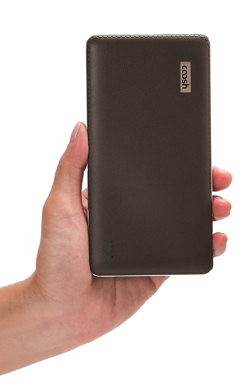 Coosh Faux Leather 10000mAh Portable Charger External Battery Power Bank