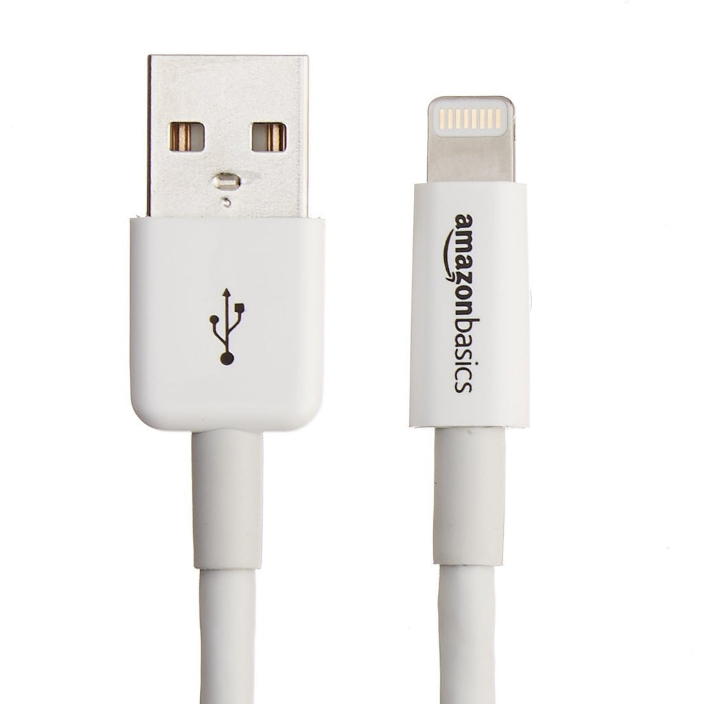 2 Pack: AmazonBasics Lightning to USB 6 Feet/1.8 Meters Apple MFi Certified Cable in White