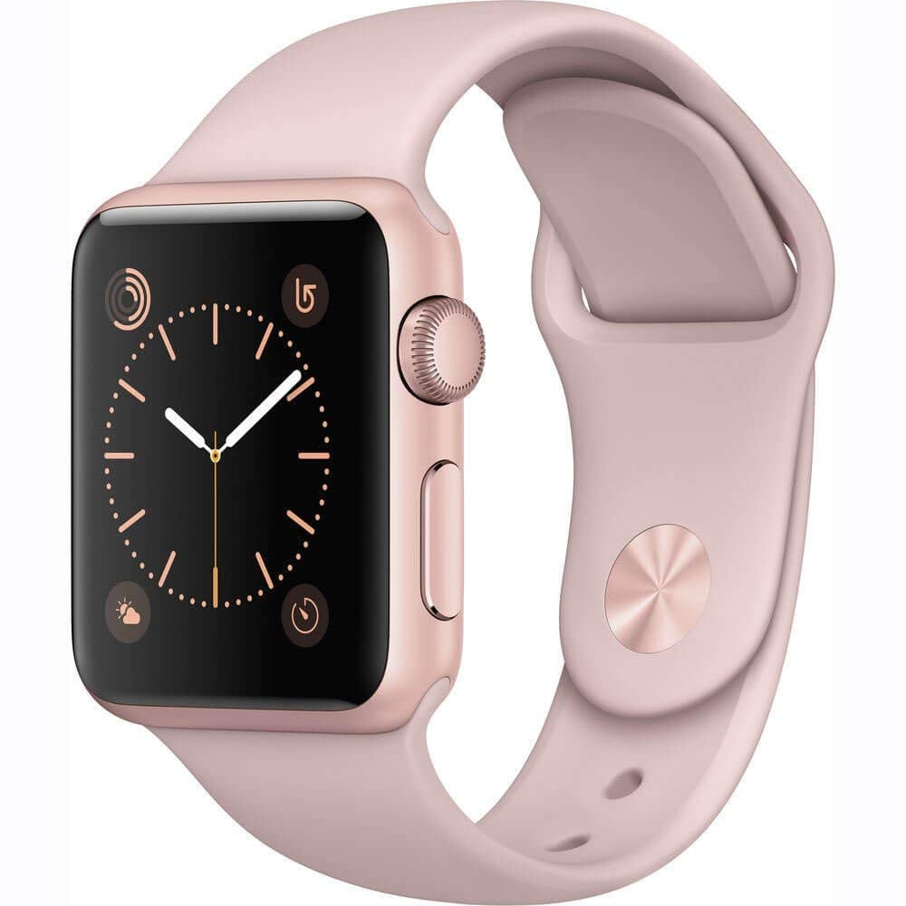 Apple Watch 42mm Smartwatch in Rose Gold Aluminum Case with Pink Sport Band