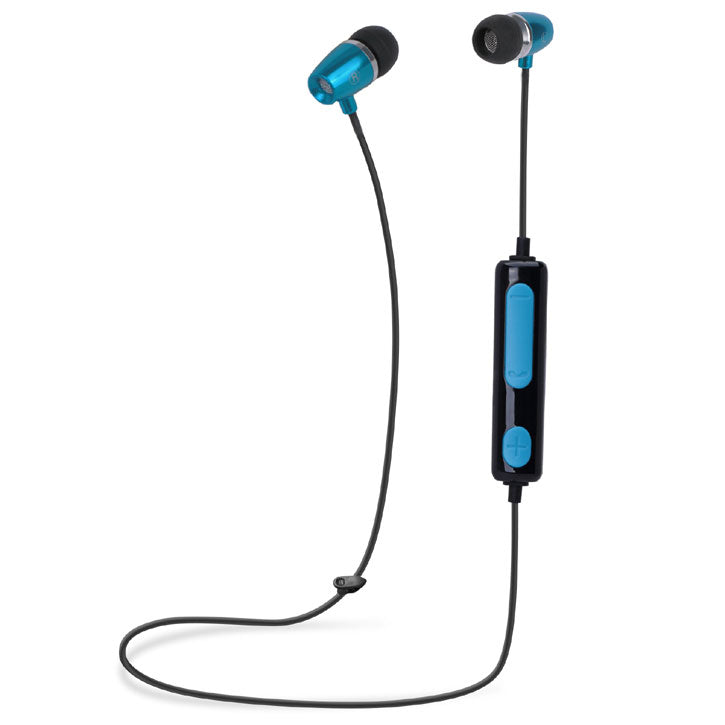 iTD Gear Metal Bullet In Ear Bluetooth Stereo Headphones in Blue