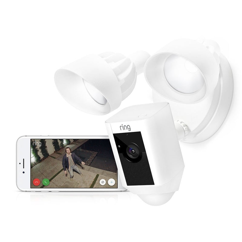 Ring Floodlight Camera Motion-Activated HD Security Cam Two-Way Talk and Siren Alarm in White