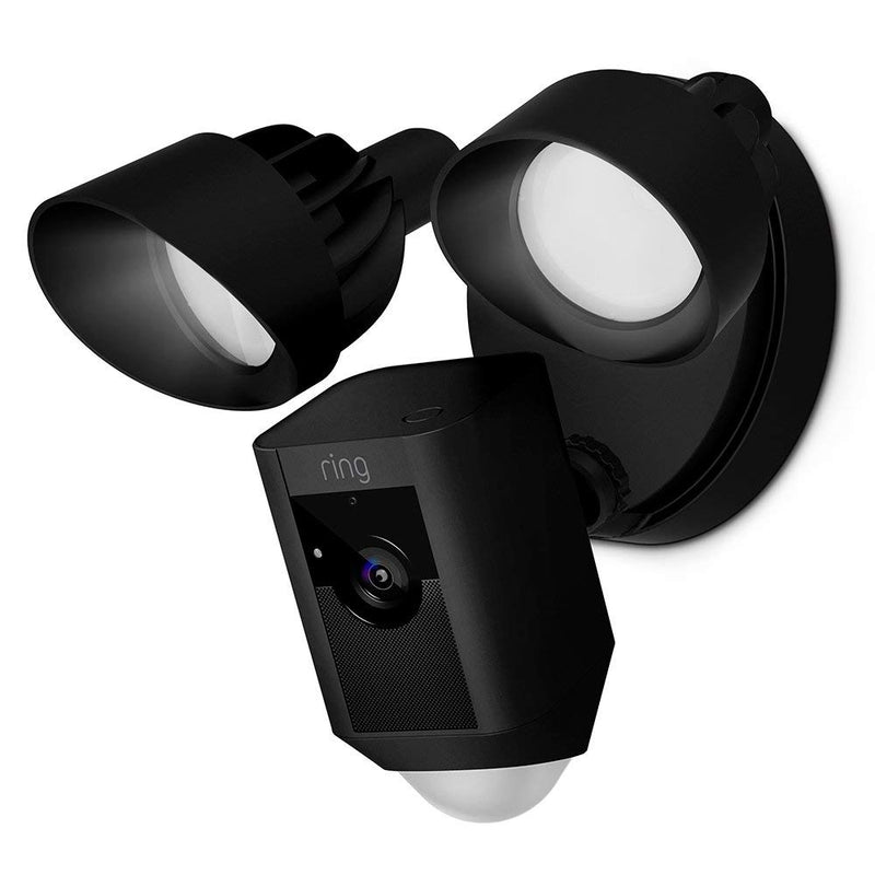 Ring Floodlight Camera Motion-Activated HD Security Cam Two-Way Talk and Siren Alarm in Black
