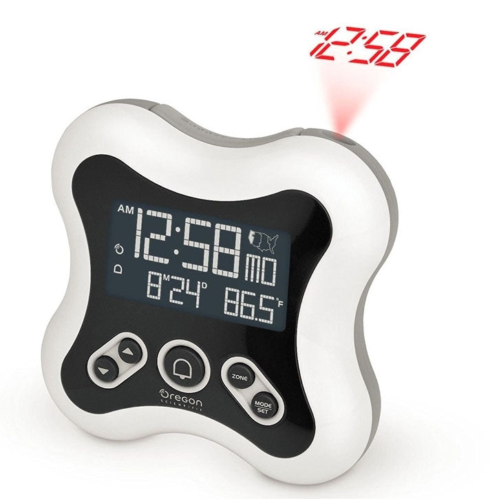 Oregon Scientific RM331P Projection Atomic Time Alarm Clock with Temperature Calendar for Home Office Bedroom in White