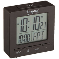 Oregon Scientific RM511A Portable Dual Alarm Clock with Temperature Date Backlight for Home Office Travel in Black