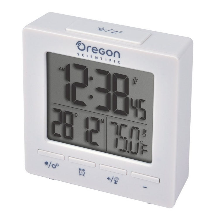 Oregon Scientific RM511A Portable Dual Alarm Clock with Temperature Date Backlight for Home Office Travel in White