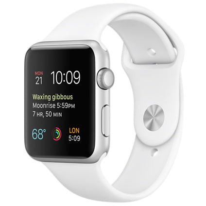 Apple Watch 38mm Smartwatch in Silver Aluminum Case with White Sport Band