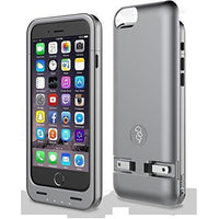 Squirl MFI Apple Certified iPhone Extended Battery Protective Case for iPhone 6/6S in Space Gray/Silver