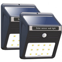 2 Pack: 12 LED Solar Motion Sensor Wall Light in Black