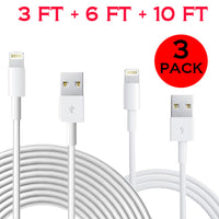 3 Pack: Cable Bundle 3ft/6ft/10ft for iPhone 5/6/7, iPad Air