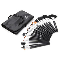 Professional Studio Quality 24 Piece Natural Cosmetic Makeup Brush Brushes Set w/Pouch