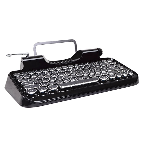 Typewriter Bluetooth Wireless Mechanical Keyboard with Integrated Tablet Stand (Black)