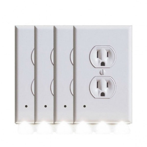 4 Pack: iTD Gear Wall Outlet Coverplate w/ LED Night Lights (Auto on/off)