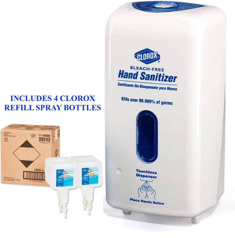 CLOROX No-Touch Hand Sanitizer Dispenser + 4-Pack Refill Spray Bottles, Adjustable Sensor in White