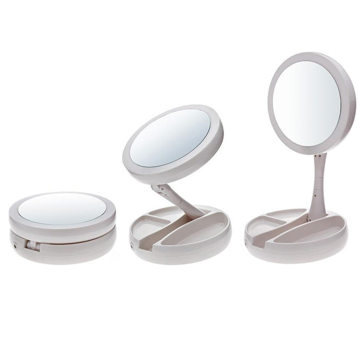 Trendy Frosted LED Folding Vanity & Travel Makeup Mirror